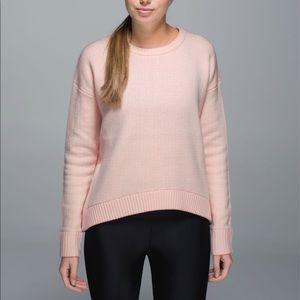 Lululemon Yogi Crew Sweater in parfait pink/white